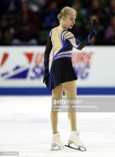 Bradie Tennell of the United States competes in the ladies short program during the ISU Grand Prix of Figure Skating Skate America on October 20 2018...