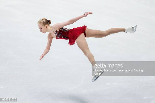 Bradie Tennell of the United States competes in the Ladies Short Program during day one of the World Figure Skating Championships at Mediolanum Forum...