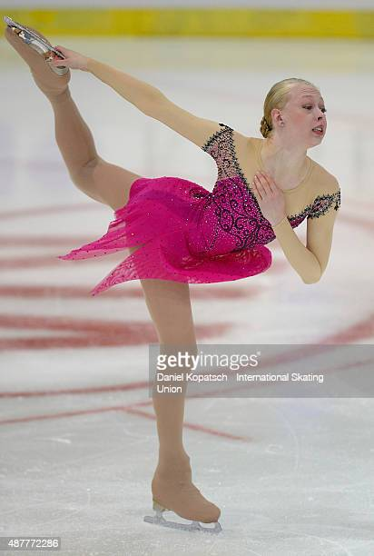 Bradie Tennell of the United States skates during the junior ladies free skating of ISU Junior Grand Prix of figure skating on September 11 2015 in...