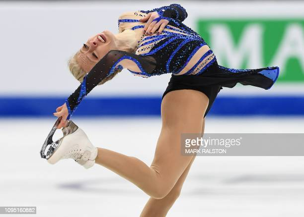 TOPSHOT Bradie Tennell of the USA competes before finishing with the highest score in the Ladies Short Program during the ISU Four Continents Figure...