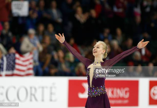 Bradie Tennell of the USA competes during Ladies Free Skating on day three of the 2018 ISU Grand Prix of Figure Skating Skate America at Angel of the...