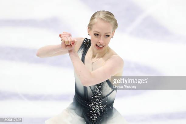 Bradie Tennell of United States performs in Ladies Free Skating during day three of the ISU World Figure Skating Championships at Ericsson Globe on...