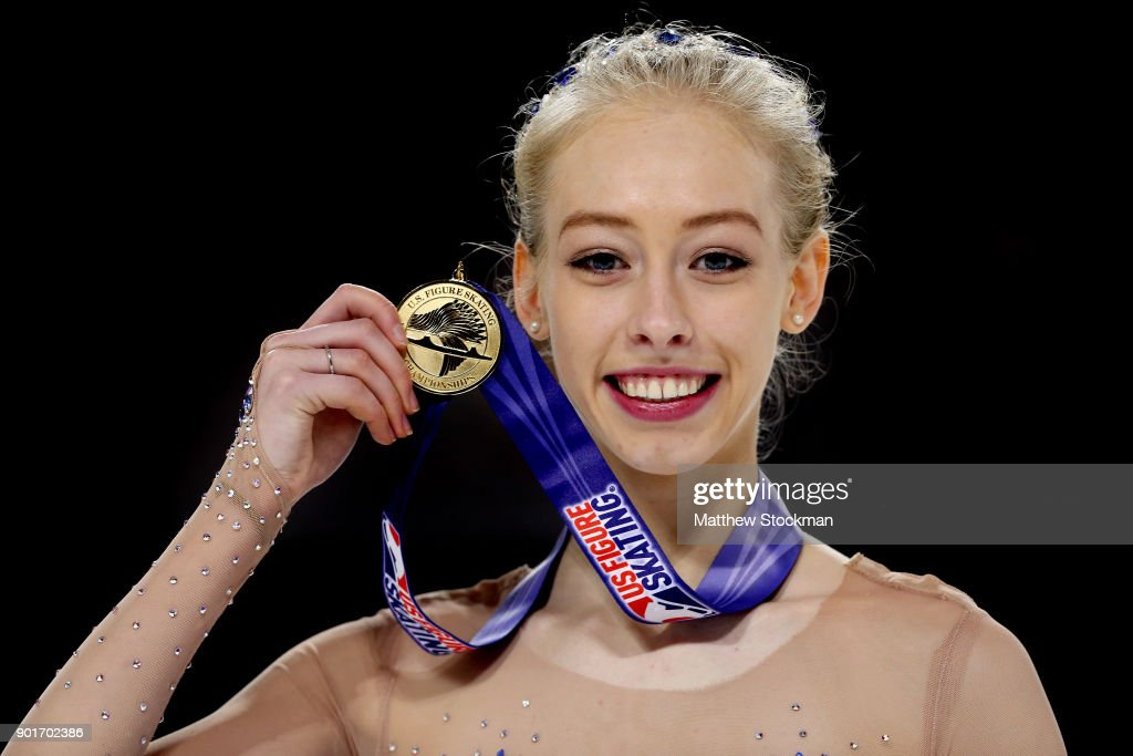 Bradie Tennell poses for photographers after the medals ceremony for the Championship Ladies during the 2018 Prudential U.S. Figure Skating Championships at the SAP Center on January 5, 2018 in San Jose, California.