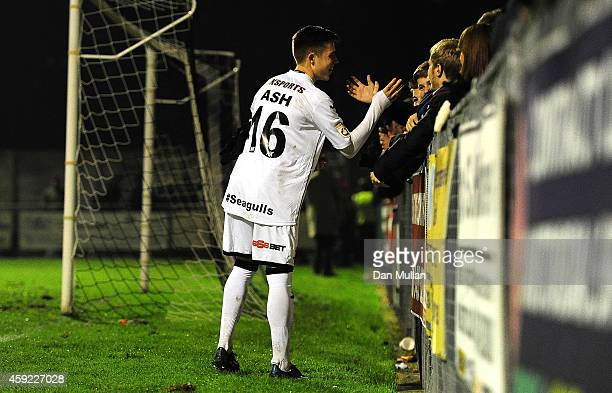 Bradley Ash of WestonSuperMare thanks the home fans after the final whistle during the FA Cup First Round match between WestonSuperMare and Doncaster...
