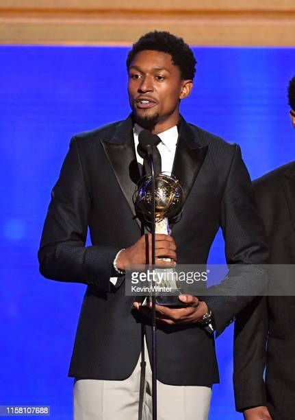 Bradley Beal accepts the NBA Cares Community Assist Award presented by Kaiser Permanente onstage during the 2019 NBA Awards presented by Kia on TNT...