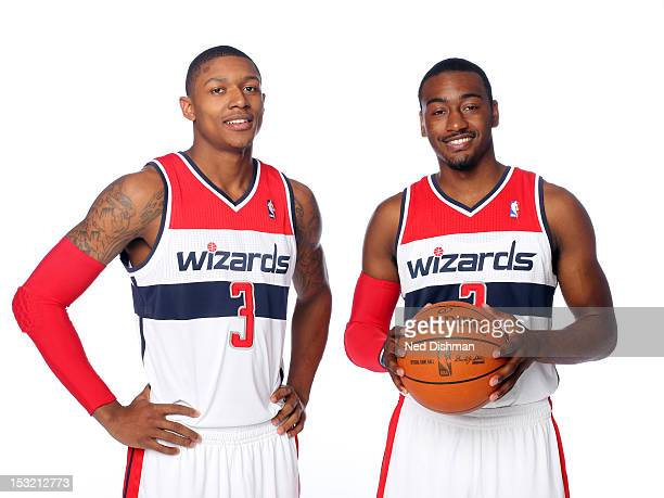 Bradley Beal and John Wall of the Washington Wizards pose for a portrait during 2012 NBA Media Day at the Verizon Center on October 1 2012 in...