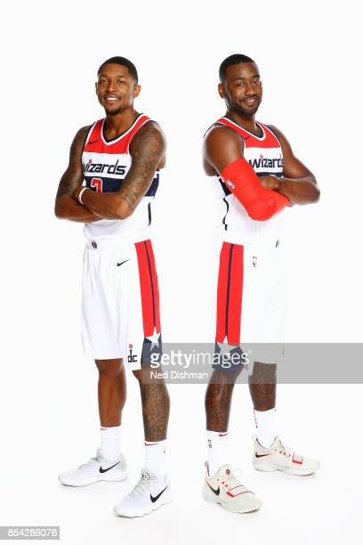Bradley Beal and John Wall of the Washington Wizards pose for a portrait during Media Day on September 25 2017 at Capital One Center in Washington DC...