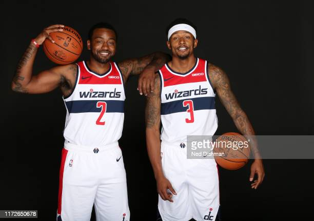 Bradley Beal and John Wall of the Washington Wizards pose for a portrait during the 2019 NBA Rookie Photo Shoot at the Washington Wizards Practice...