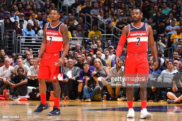 Bradley Beal and John Wall of the Washington Wizards stand on the court during the game against the Los Angeles Lakers on October 25 2017 at STAPLES...