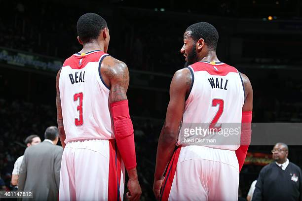Bradley Beal and John Wall of the Washington Wizardsduring the game against the New York Knicks on January 7 2015 at Verizon Center in Washington DC...