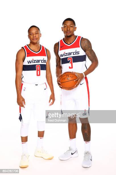 Bradley Beal and Tim Frazier of the Washington Wizards pose for a portrait during Media Day on September 25 2017 at Capital One Center in Washington...