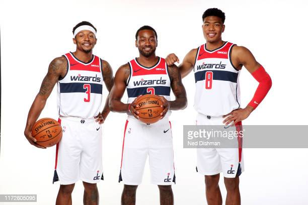 Bradley Beal, John Wall, and Rui Hachimura of the Washington Wizards pose for a portrait during the 2019 NBA Rookie Photo Shoot at the Washington...