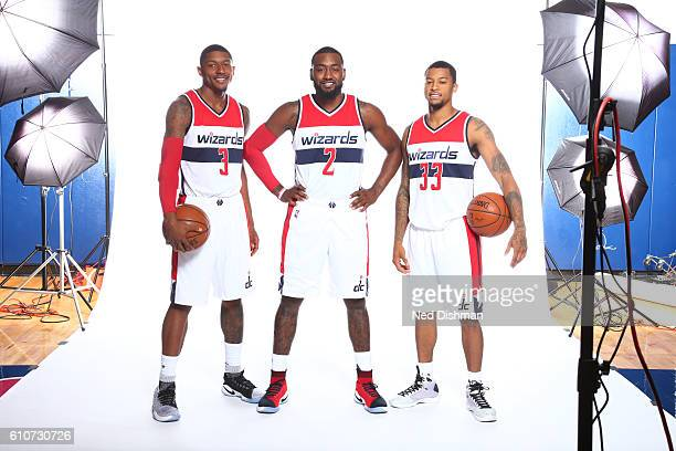 Bradley Beal John Wall and Trey Burke of the Washington Wizards pose for a portrait during the 20162017 Media Day on September 26 2016 at the Verizon...