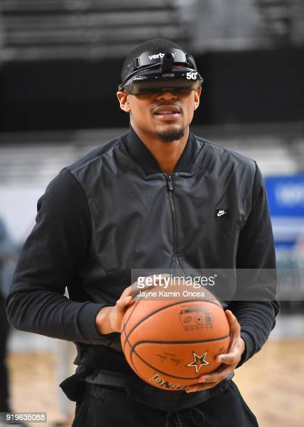 Bradley Beal of Team LeBron demonstrates Verizon's 5G technology as he shoots a free throw at the Verizon Up Arena at LACC on February 17 2018 in Los...
