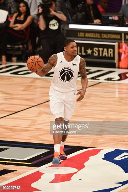Bradley Beal of Team LeBron handles the ball against Team Stephen during the NBA AllStar Game as a part of 2018 NBA AllStar Weekend at STAPLES Center...