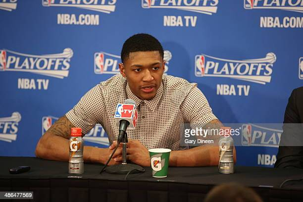 Bradley Beal of the Washington Wizards address the media following Game 2 of the Eastern Conference Quarterfinals against the Chicago Bulls on April...