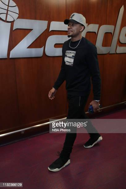 Bradley Beal of the Washington Wizards arrives to the arena prior to the game against the Miami Heat on March 23 2019 at Capital One Arena in...
