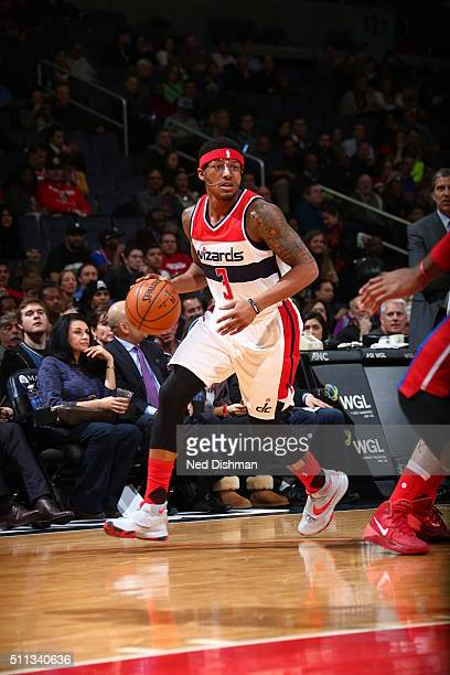Bradley Beal of the Washington Wizards brings the ball up court against the Detroit Pistons on February 19 2016 at Verizon Center in Washington DC...