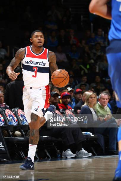 Bradley Beal of the Washington Wizards brings the ball up court against the Dallas Mavericks on November 7 2017 at Capital One Arena in Washington DC...