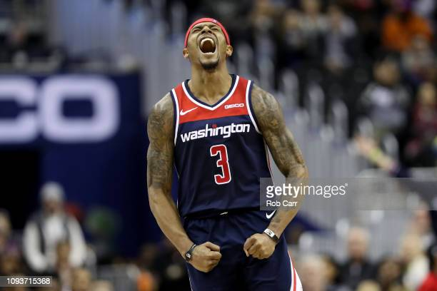 Bradley Beal of the Washington Wizards celebrates after hitting a shot against the Toronto Raptors at Capital One Arena on January 13 2019 in...