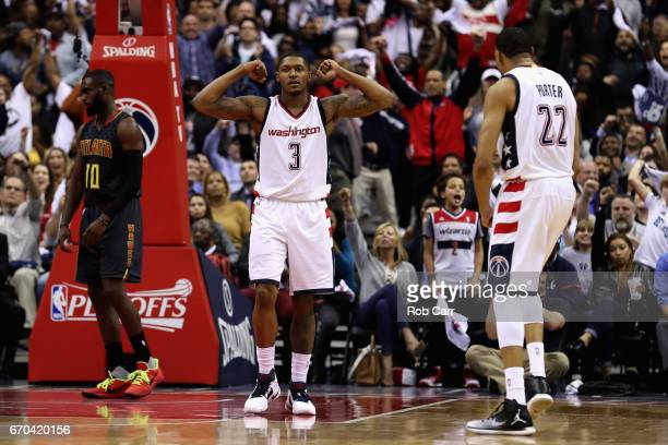 Bradley Beal of the Washington Wizards celebrates after making a shot and getting fouled in the second half of the Wizards 109101 win over the...