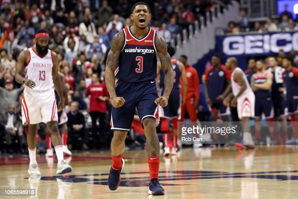 Bradley Beal of the Washington Wizards celebrates after scoring against the Houston Rockets in the second half at Capital One Arena on November 26...