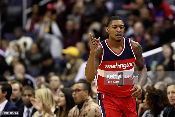 Bradley Beal of the Washington Wizards celebrates after scoring against the Detroit Pistons at Verizon Center on December 16 2016 in Washington DC...