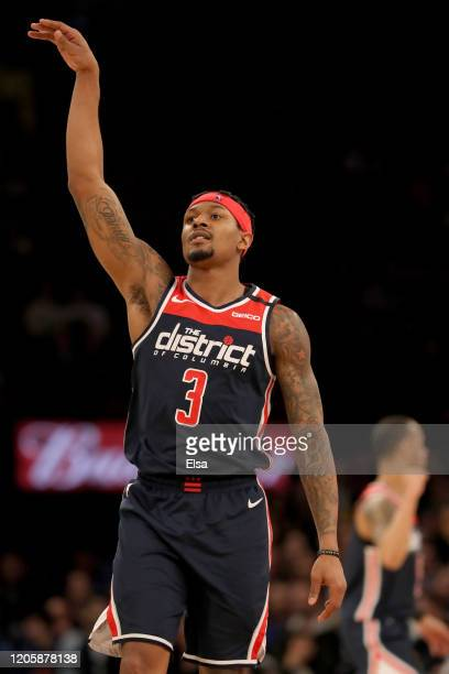 Bradley Beal of the Washington Wizards celebrates his three point shot in the second half against the New York Knicks at Madison Square Garden on...