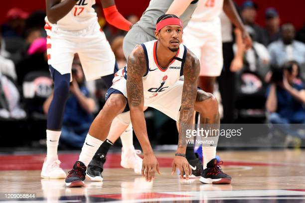 Bradley Beal of the Washington Wizards defends against the Brooklyn Nets during the first half at Capital One Arena on February 26, 2020 in...