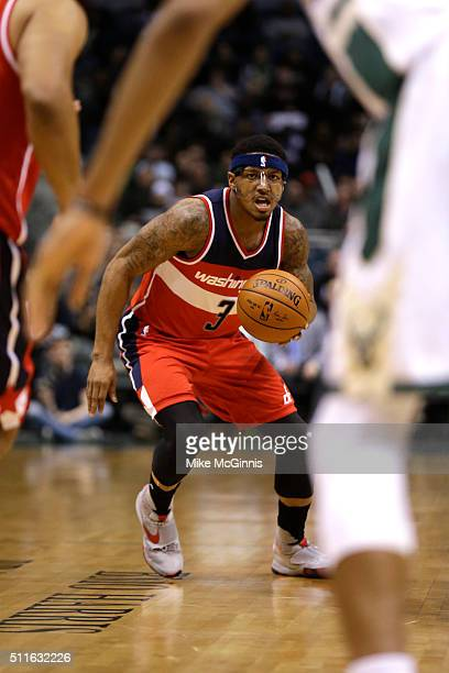 Bradley Beal of the Washington Wizards dribbles the basketball during the game against the Milwaukee Bucks at BMO Harris Bradley Center on February...