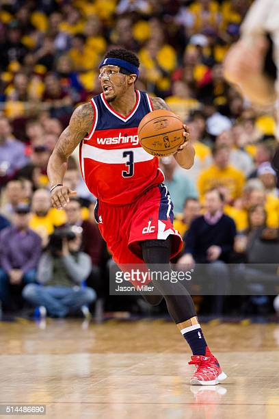 Bradley Beal of the Washington Wizards drives down the court during the first half against the Cleveland Cavaliers at Quicken Loans Arena on March 4...