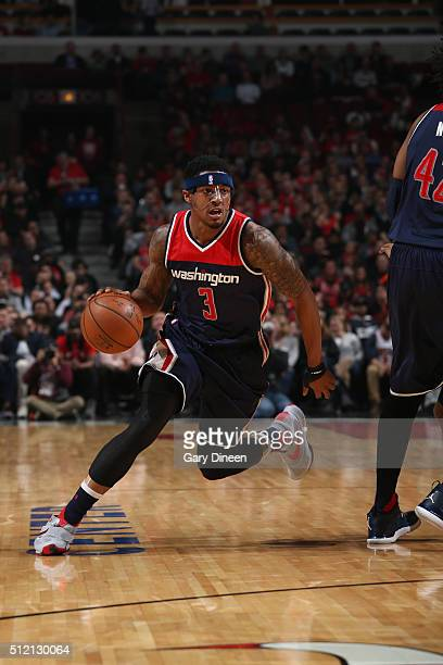 Bradley Beal of the Washington Wizards drives to the basket against the Chicago Bulls during the game on February 24 2016 at United Center in Chicago...