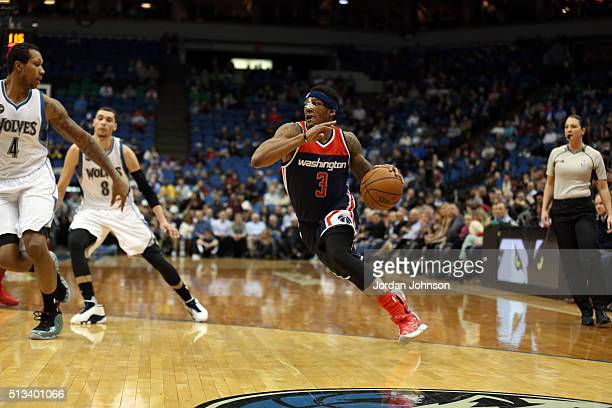 Bradley Beal of the Washington Wizards drives to the basket against the Minnesota Timberwolves on March 2 2016 at Target Center in Minneapolis...