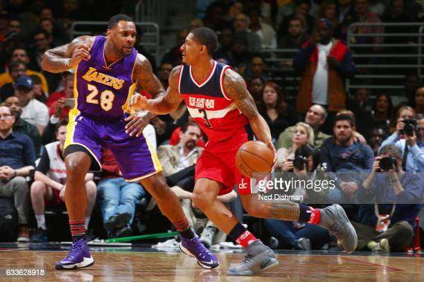 Bradley Beal of the Washington Wizards drives to the basket against Tarik Black of the Los Angeles Lakers during the game on February 2 2017 at...