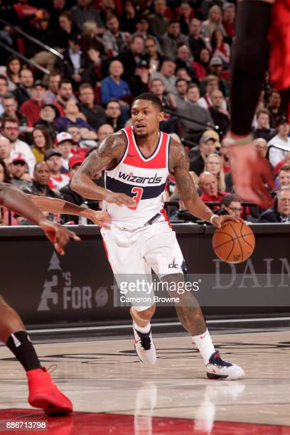 Bradley Beal of the Washington Wizards drives to the basket against the Portland Trail Blazers on December 5 2017 at the Moda Center in Portland...