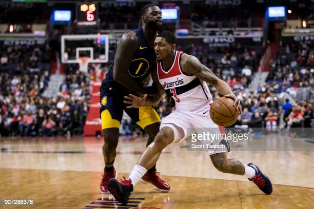 Bradley Beal of the Washington Wizards drives to the basket against Lance Stephenson of the Indiana Pacers during the second half at Capital One...