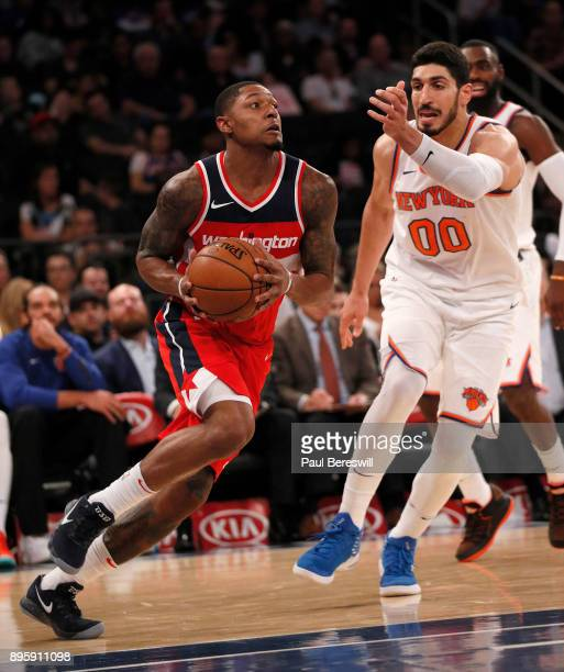 Bradley Beal of the Washington Wizards drives to the basket in a preseason NBA basketball game against the New York Knicks on October 13 2017 at...