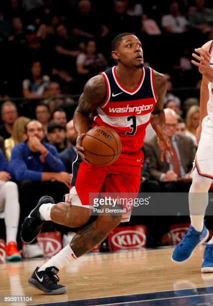 Bradley Beal of the Washington Wizards drives with the ball in a preseason NBA basketball game against the New York Knicks on October 13 2017 at...