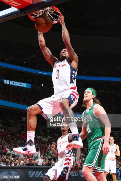Bradley Beal of the Washington Wizards dunks against the Boston Celtics in Game Four of the Eastern Conference Semifinals of the 2017 NBA Playoffs on...