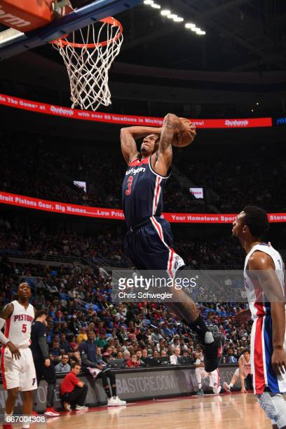 Bradley Beal of the Washington Wizards dunks against the Detroit Pistons on April 10 2017 at The Palace of Auburn Hills in Auburn Hills Michigan NOTE...