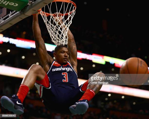 Bradley Beal of the Washington Wizards dunks during the second quarter of the game against the Boston Celtics at TD Garden on December 25 2017 in...