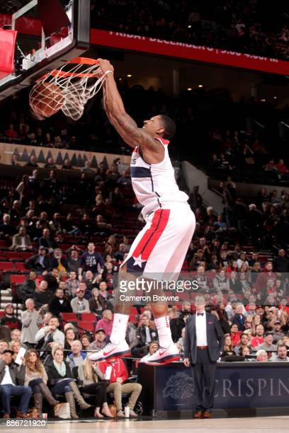 Bradley Beal of the Washington Wizards dunks the ball at the end of the game against the Portland Trail Blazers on December 5 2017 at the Moda Center...