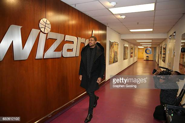 Bradley Beal of the Washington Wizards enters the arena before the game against the Boston Celtics on January 24 2017 at Verizon Center in Washington...