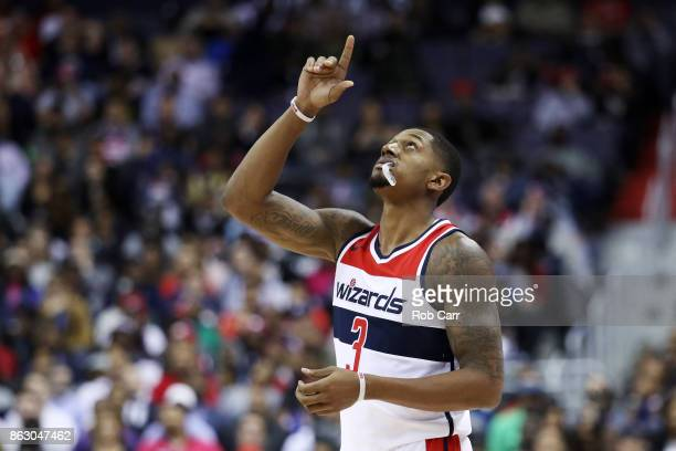 Bradley Beal of the Washington Wizards enters the game in the second half against the Philadelphia 76ers at Capital One Arena on October 18 2017 in...