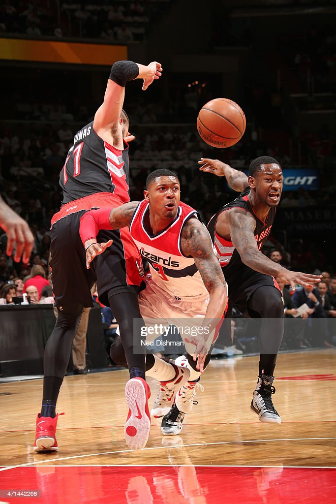 Bradley Beal #3 of the Washington Wizards goes for a loose ball against the Toronto Raptors in Game Three of the Eastern Conference Quarterfinals during the 2015 NBA Playoffs on April 24, 2015 at Verizon Center in Washington, DC.