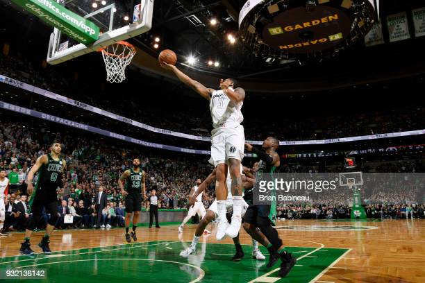 Bradley Beal of the Washington Wizards goes to the basket against the Boston Celtics on March 14 2018 at the TD Garden in Boston Massachusetts NOTE...