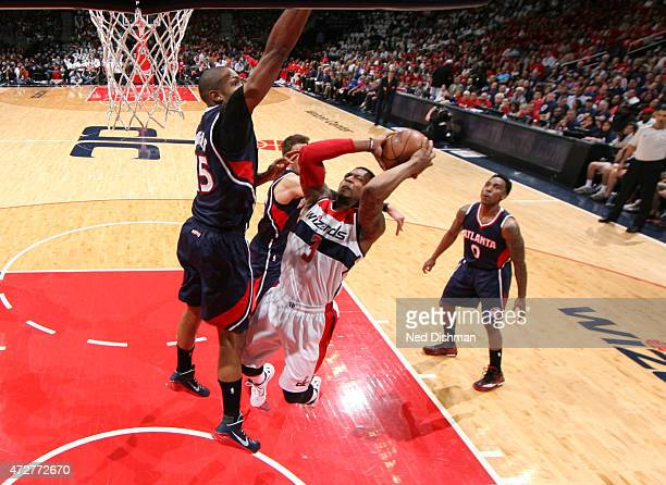 Bradley Beal of the Washington Wizards goes up for a shot against the Atlanta Hawks in Game Three of the Eastern Conference Semifinals of the 2015...