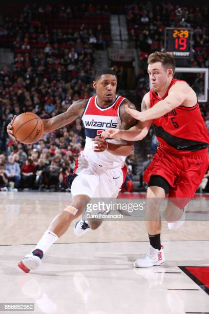 Bradley Beal of the Washington Wizards handles the ball against Pat Connaughton of the Portland Trail Blazers on December 5 2017 at the Moda Center...
