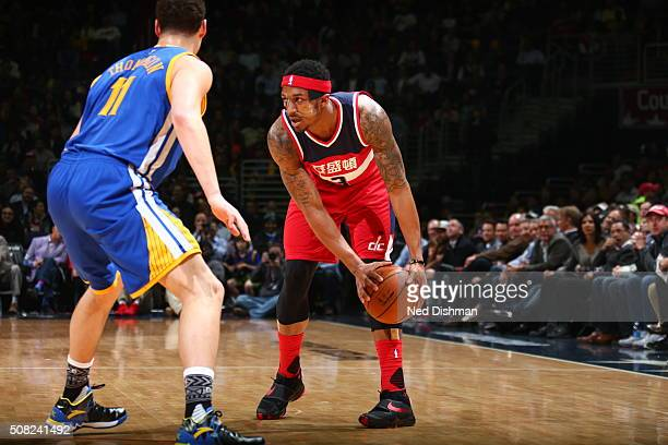 Bradley Beal of the Washington Wizards handles the ball against the Golden State Warriors on February 3 2016 at Verizon Center in Washington DC NOTE...
