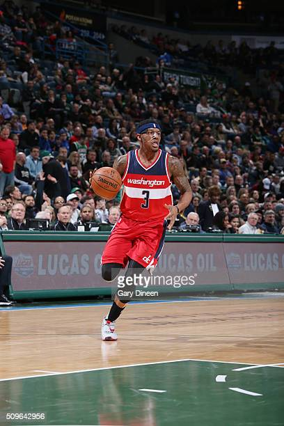 Bradley Beal of the Washington Wizards handles the ball against the Milwaukee Bucks on February 11 2016 at the BMO Harris Bradley Center in Milwaukee...